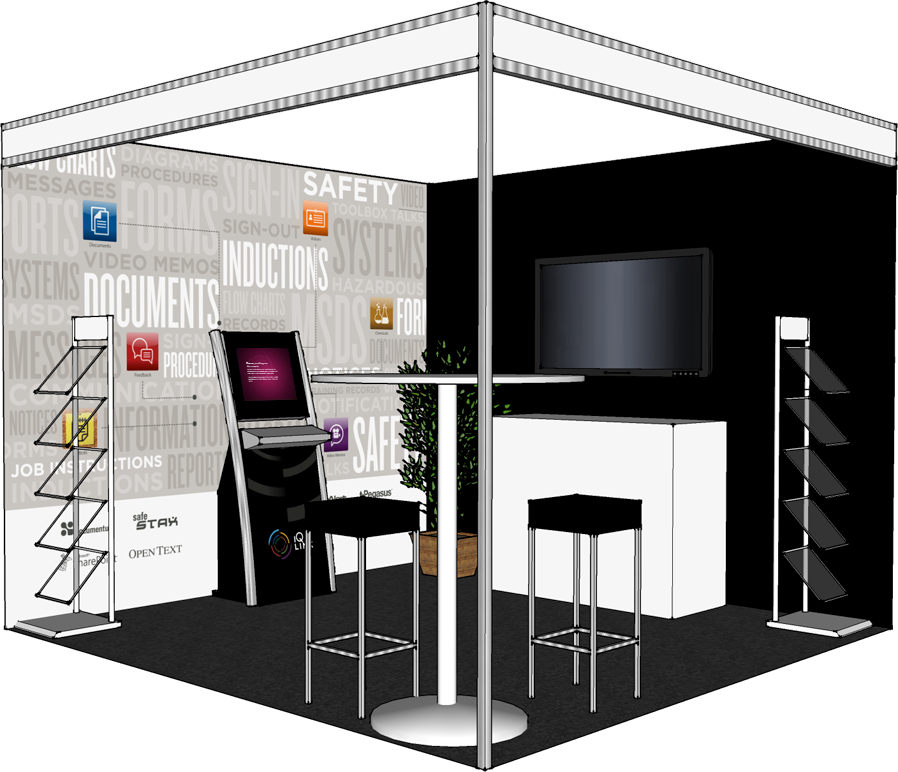 A 3d mockup of the booth we produced to help with layout for Trade show floor plan