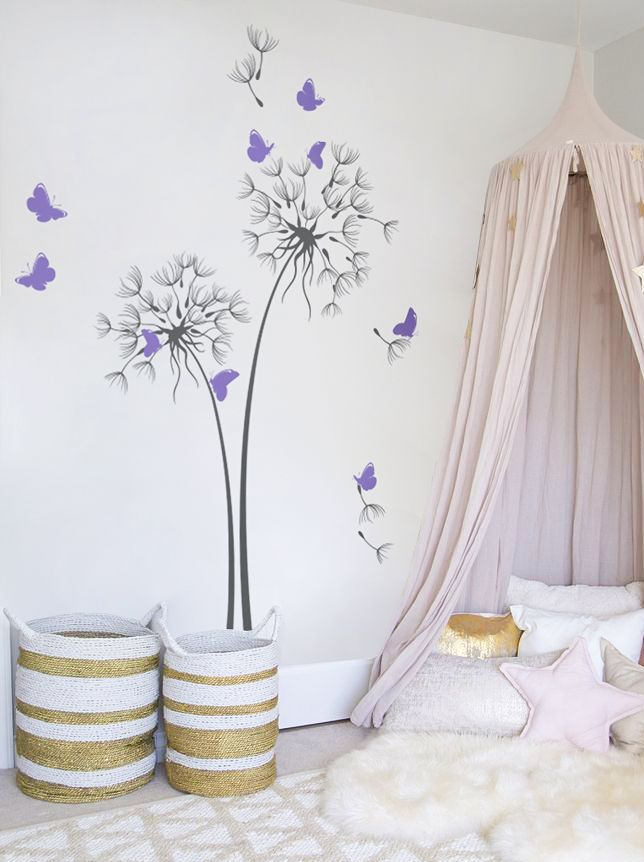 Dandelion Wall Decal With Butterflies Nursery Wall Decal Wall ...