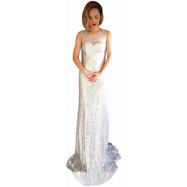 Miracle agency australian designer silver white 3329 sequin gown w ...