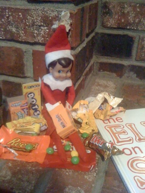 My niece's elf is here early this year, and got into their halloween candy!
