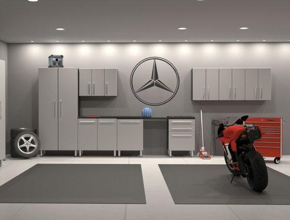 Mercedes Benz Emblem Garage Interior Wall Decal Sticker Garage - Custom vinyl wall decals for garage