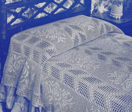 Vintage Crochet Pattern Bedspread Arrow Rose Filet Motif ...