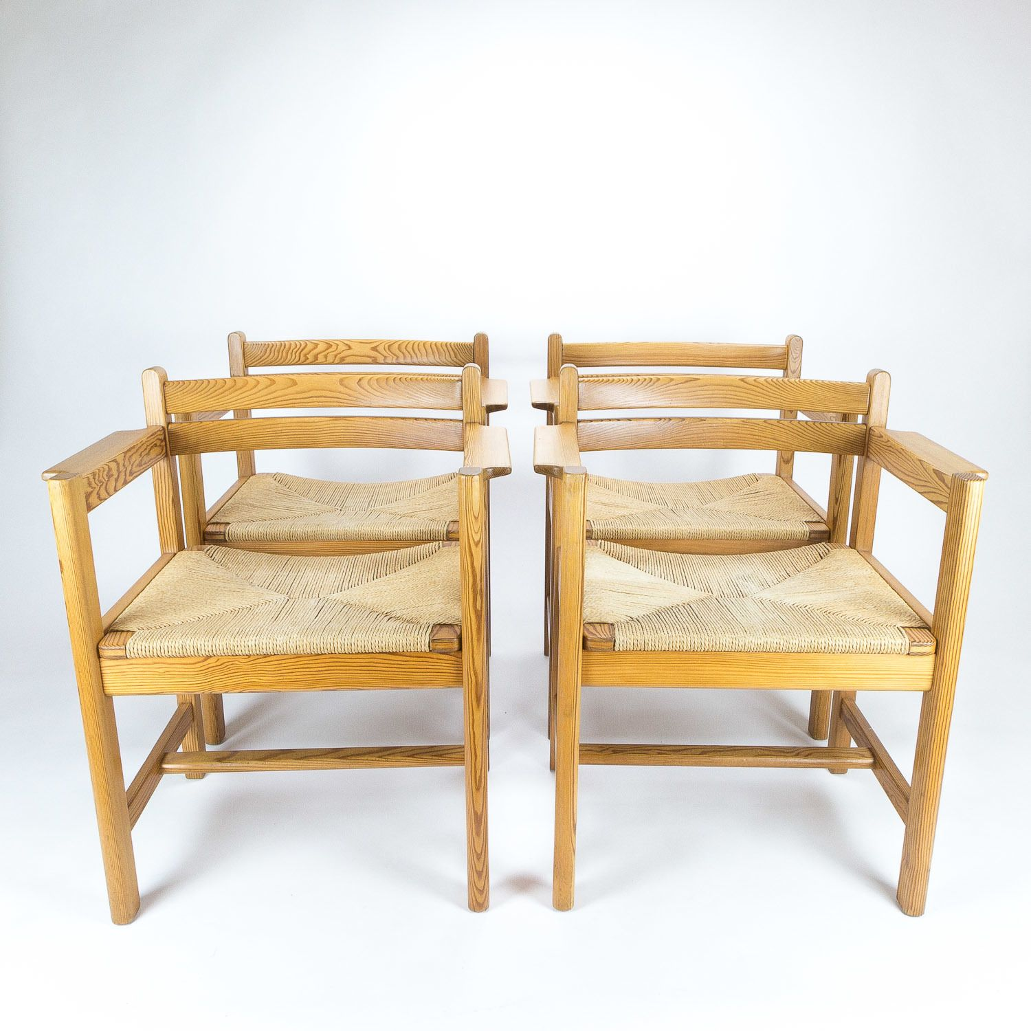 Set Of 4 Oregon Pine Asserbo Dining Chairs By Børge