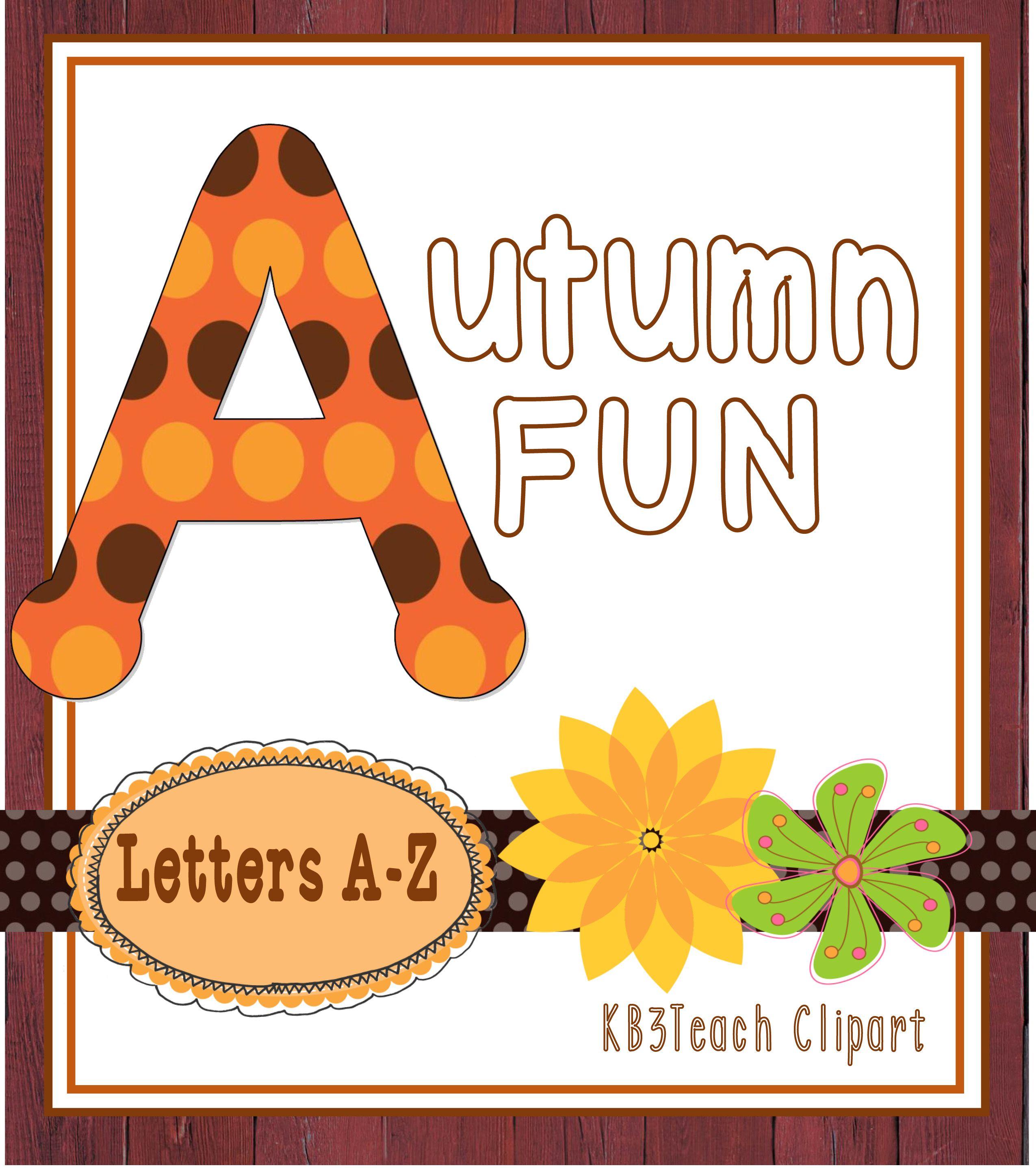 Alphabet Letters Clipart Autumn Dots Fun Uppercase A Z