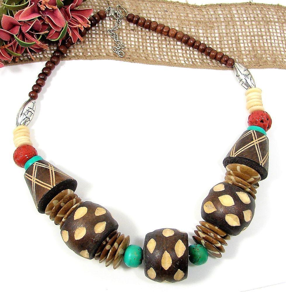 Chunky Retro Boho Tribal Necklace Carved Wood Silver Tone Art Glass Beads NICE!