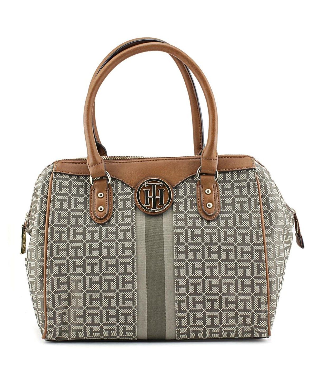 TOMMY HILFIGER Tommy Hilfiger Maggie Monogram Jacquard Dome Satchel Women Tan Satchel'. #tommyhilfiger #bags #hand bags #canvas #satchel #lining #