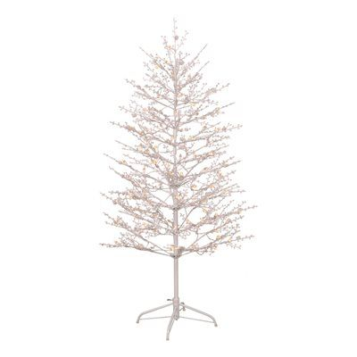 GE 5-ft Pre-Lit Winterberry White Artificial Christmas Tree with 104