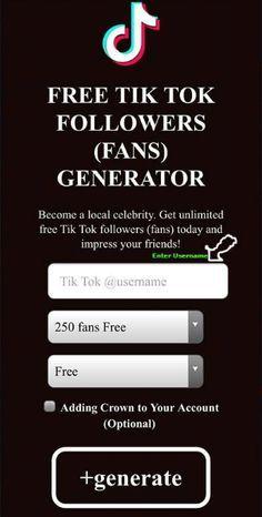 Free Tiktok Fans Generator Tik Tok Followers Generator 2020 No Survey No Offers Free Followers Free Followers On Instagram How To Get Famous