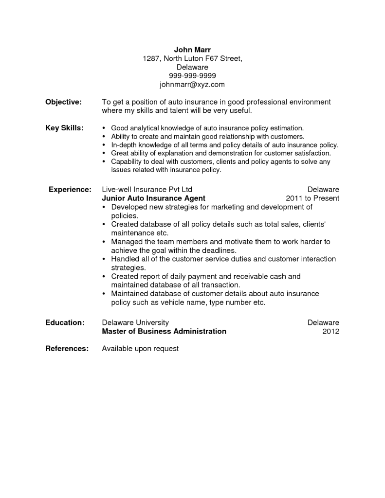 Life Insurance Agent Cover Letter Loss And Profit Statement Form