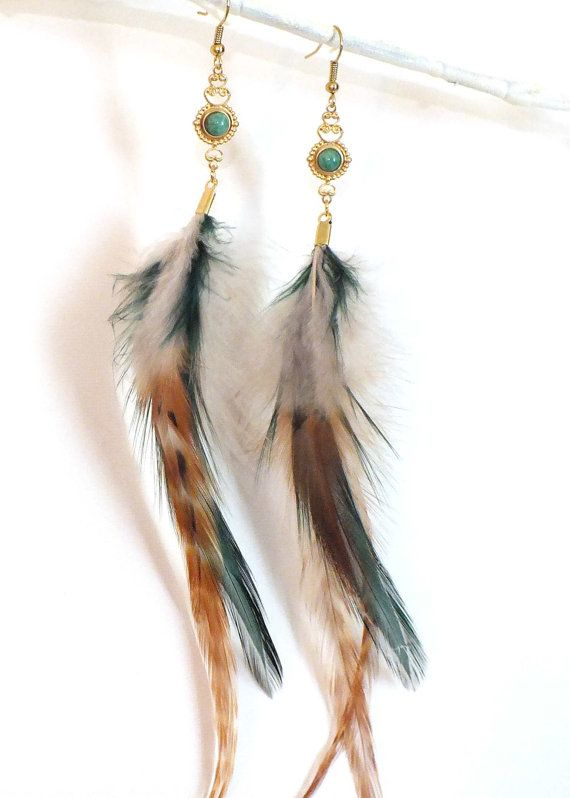 Prairie Woman Jade and Natural Feather Earrings by LonelyCoyote, $15.00