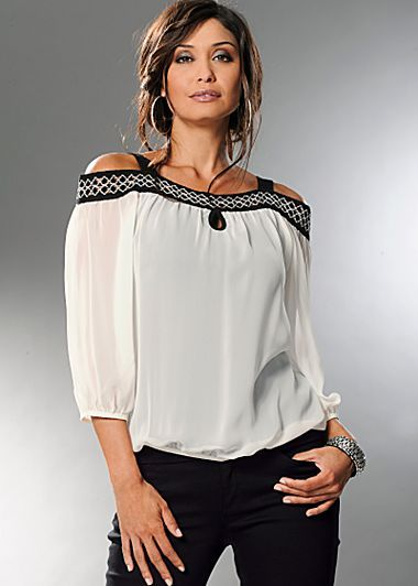 58bfc81128884 Off White   Black Cut shoulder blouse from VENUS