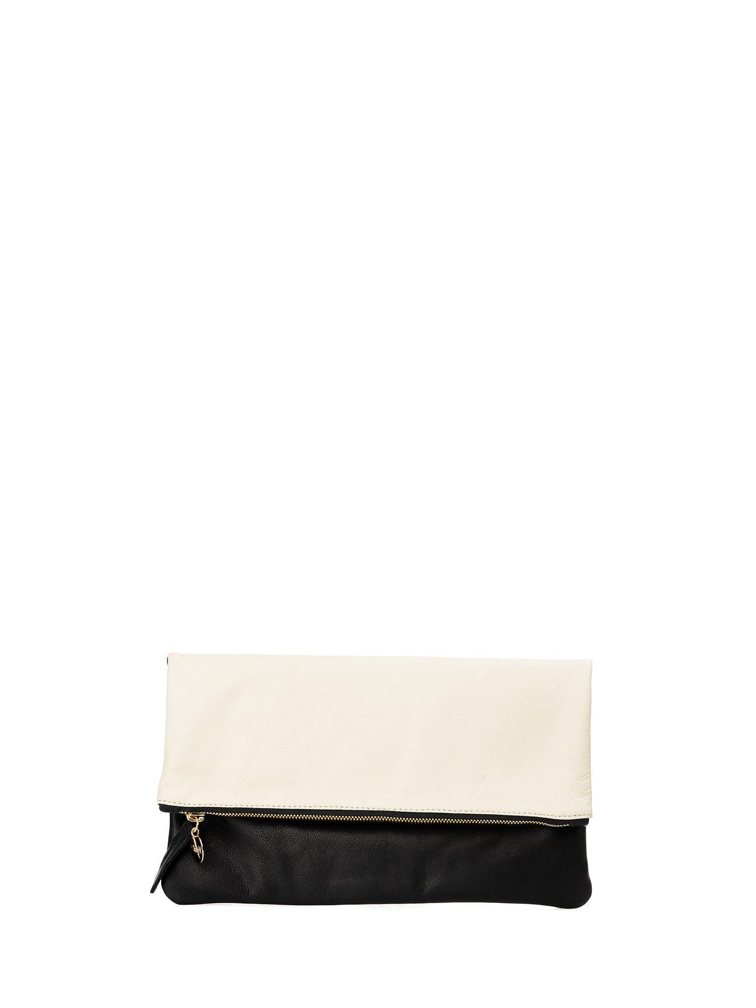 CLARE V. Foldover_2 Tone Cream Milano & Black New Fashion