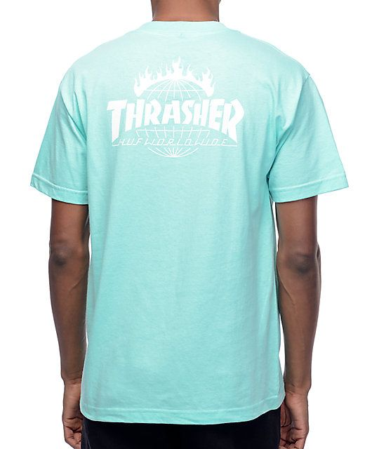 56653b91 Premium short sleeve tagless tee in mint green featuring Thrasher Flame &  HUF Worldwide collab logos in white.