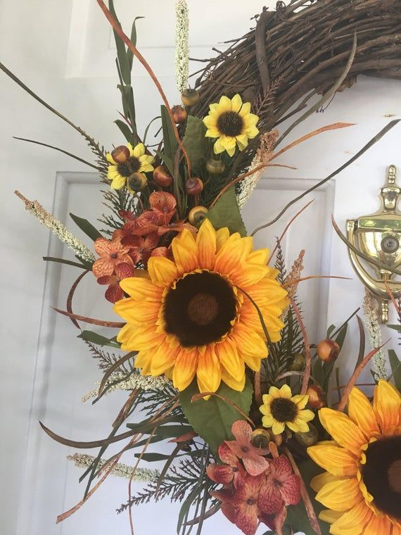Photo of Sunflower wine wreath, autumn wreath, autum wreath, autumn decor, door wreath, sunflower wreath, su