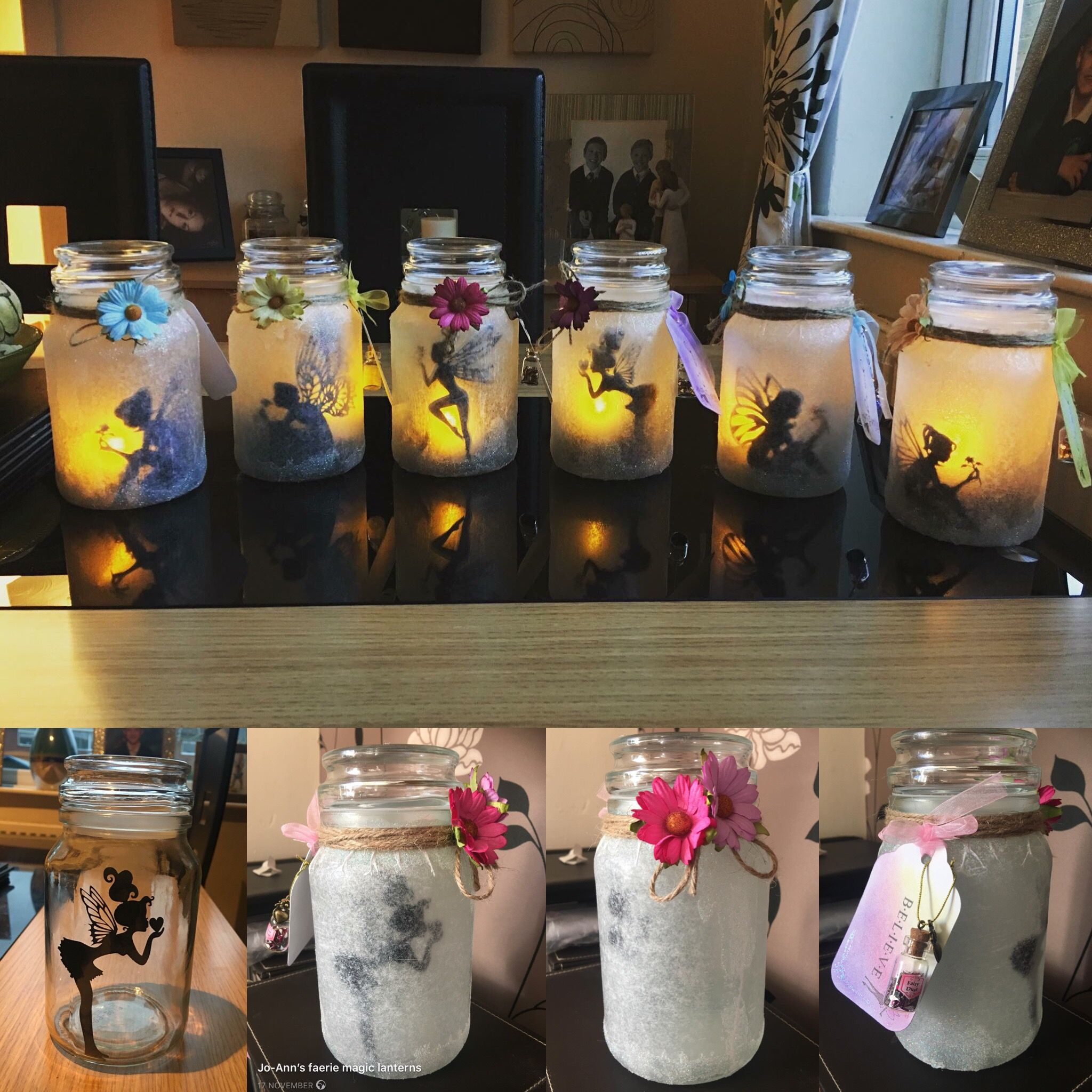 I Made These Fairy Jars From Empty Douwe Egbert Coffee Jars All You Need Is Glitter Fairy Silhouettes Brought Mine O Fairy Jars Diy Bottle Crafts Coffee Jars