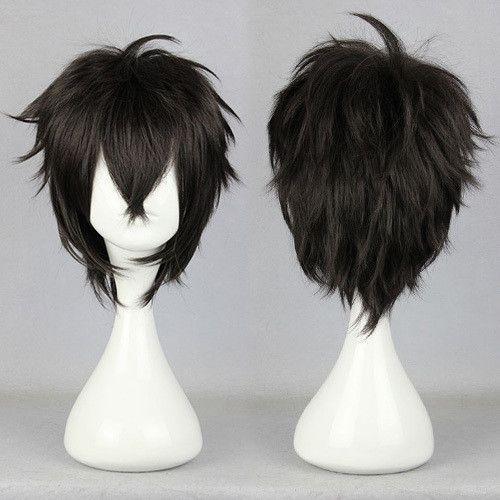 Free Shipping Halloween Synthetic 100 High Temperature Fiber Black Karneval Gareki 32cm Short Short Black Wigs Cheap Human Hair Wigs Wig Alternative