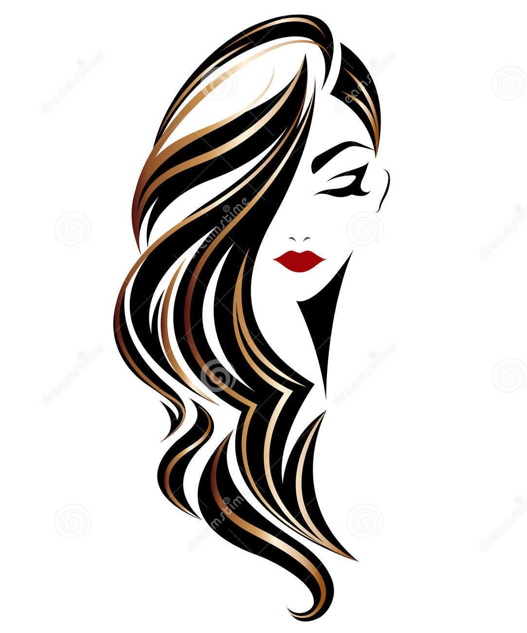 Art Girl Hair Illustration Hair Stylist Logo Design Hair Logo