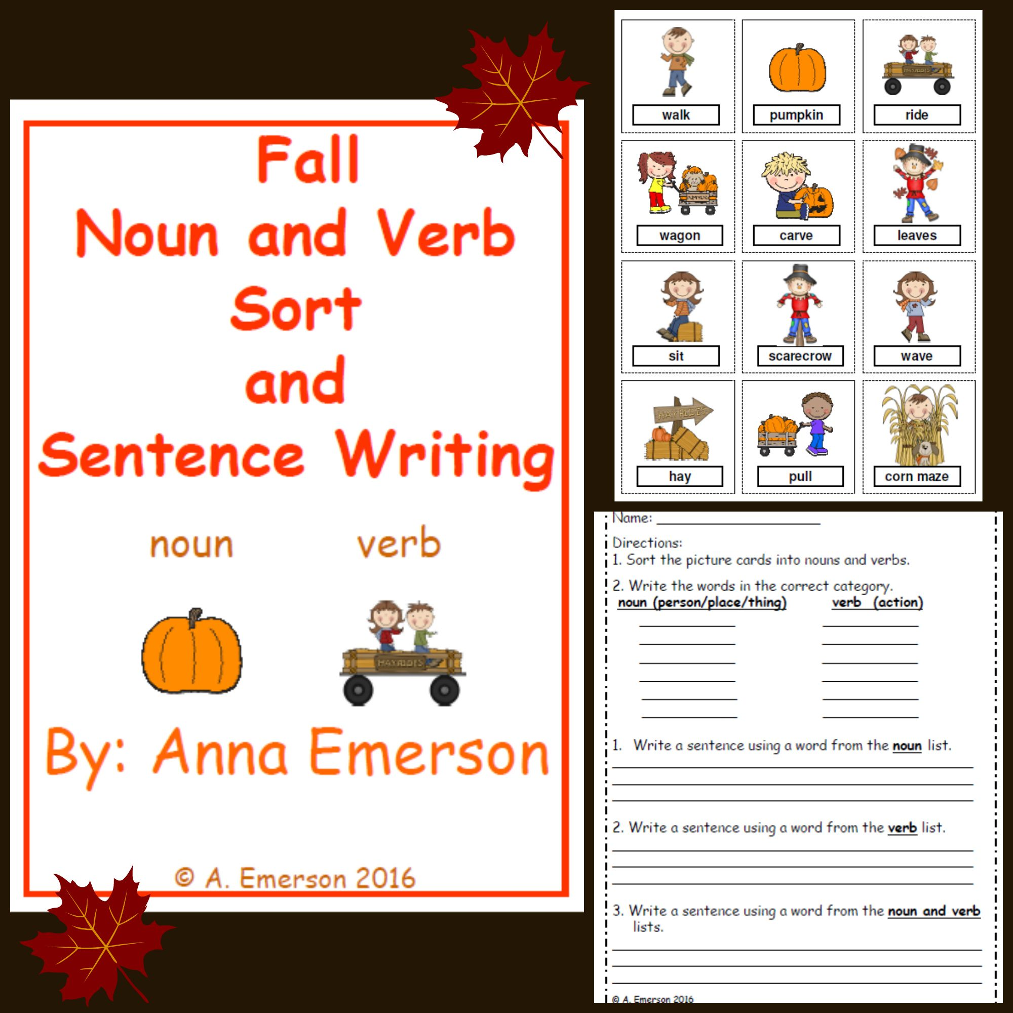 Fall Themed Noun And Verb Sort With Recording Sheet