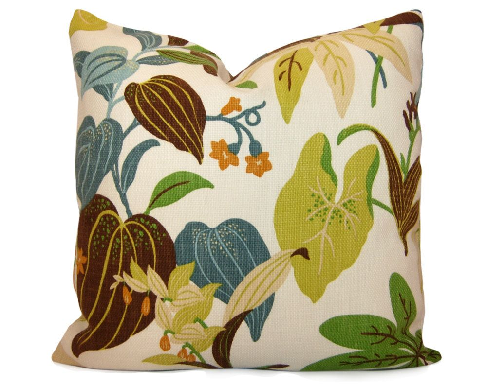 Decorative pillows with blue brown and yellow - Floral Decorative Pillow Cover Tropical Floral Pillow In Spa Blue Green Brown And Apricot Accent Pillow Sofa Pillow
