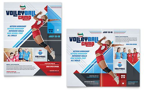 Volleyball Camp Poster Template Graphic Design Pinterest - microsoft poster template