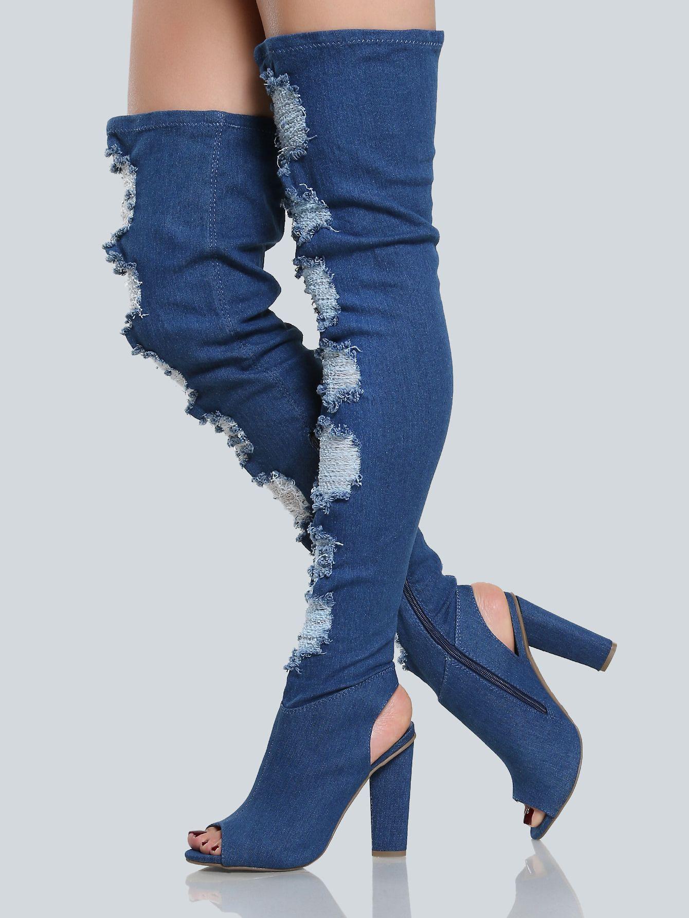 74f2fa21bbd Frayed+Peep+Toe. Shop Frayed Peep Toe Denim Thigh Highs ...