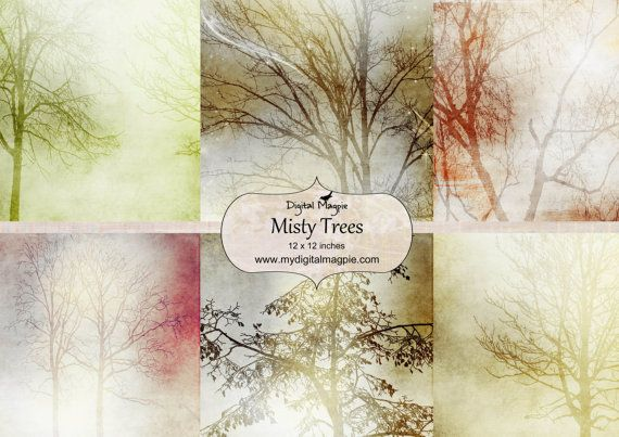 digital paper pack scrapbook paper 12 x 12 digital collage sheet printable trees image instant download