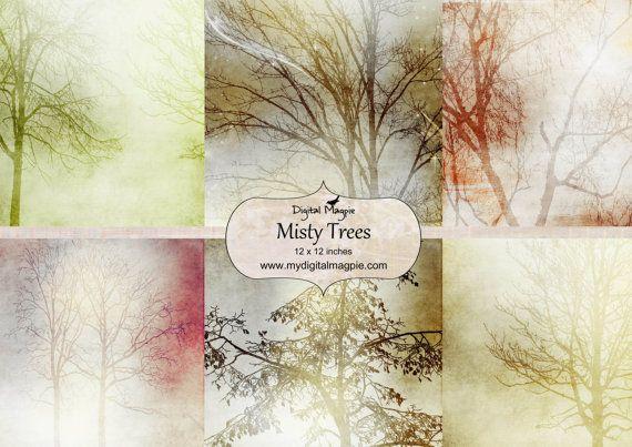 digital paper pack scrapbook paper 12 x 12 digital collage sheet printable trees image instant download
