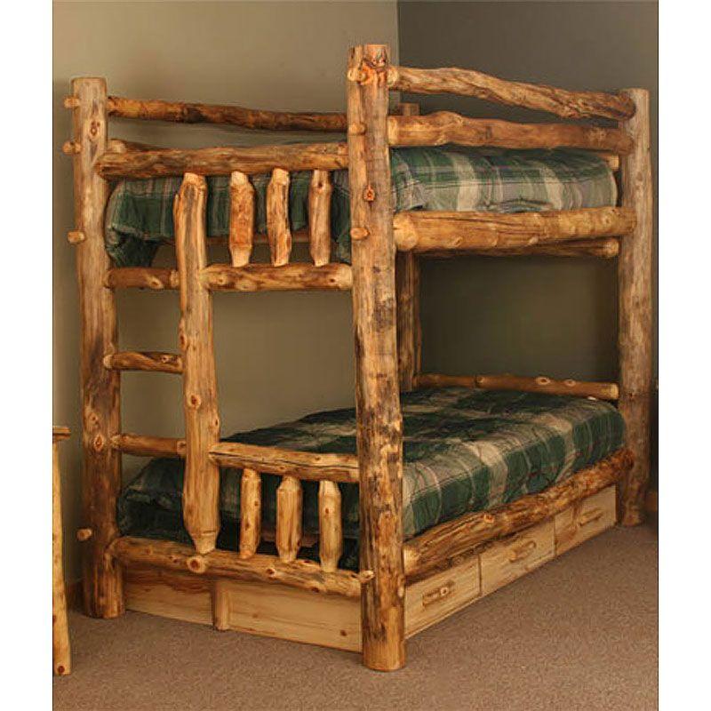 Aspen Log Rustic Bunk Bed Nc