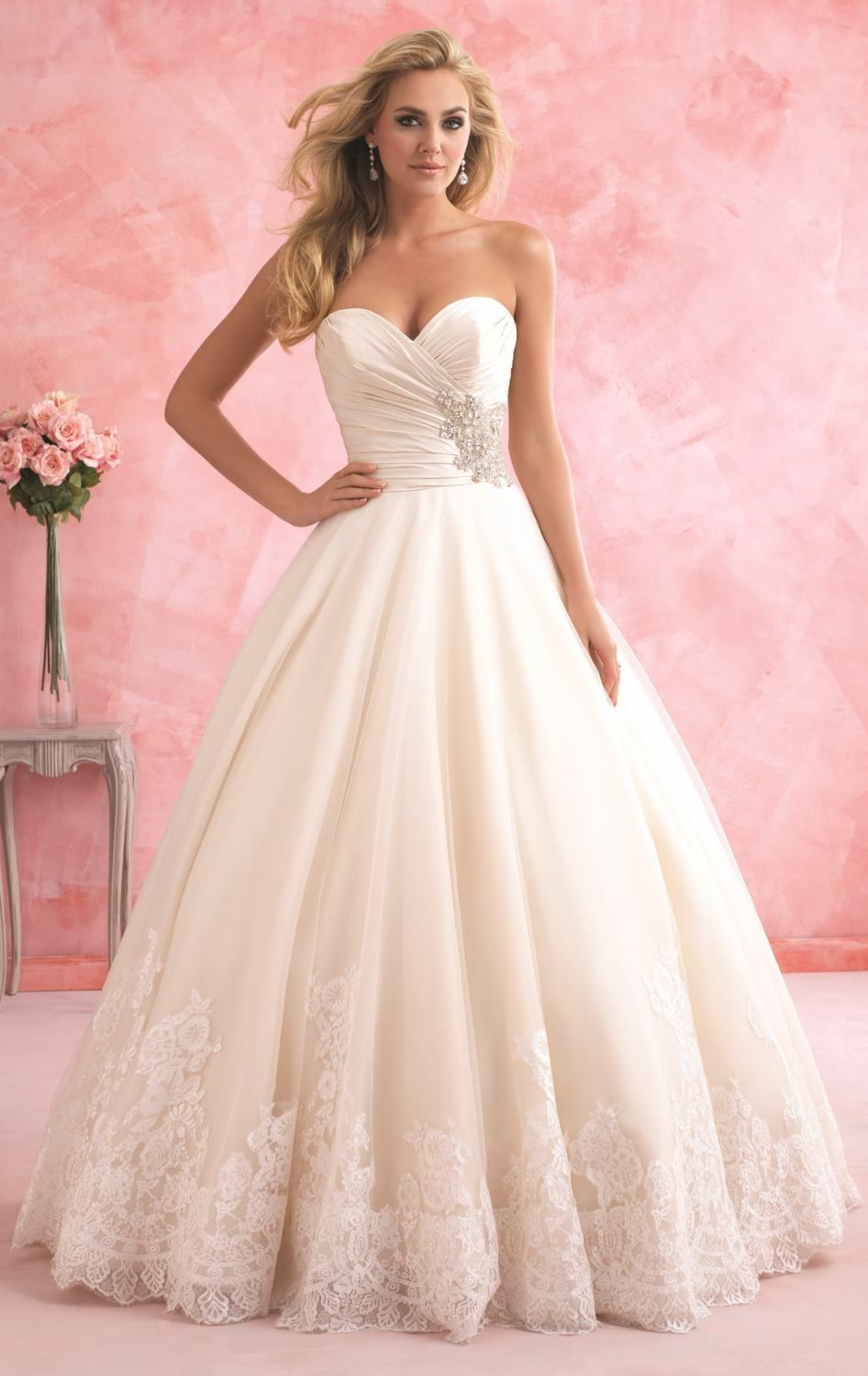 Strapless Lace Gown by Allure Bridals Romance | Novios
