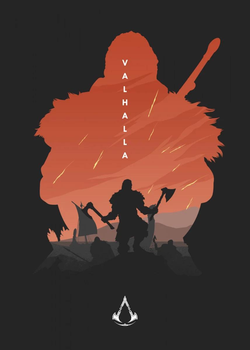 Assassins Creed Valhalla Minimalistic Poster Print Metal Posters Displate Assassins Creed Art Assassin S Creed Wallpaper Assassins Creed Artwork