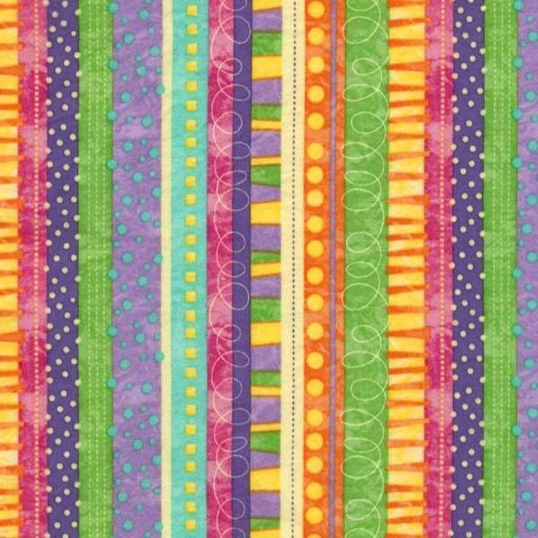 Quilting Treasures ~ Orange Yellow Purple Stripes  100/% Cotton Quilt Fabric BTY