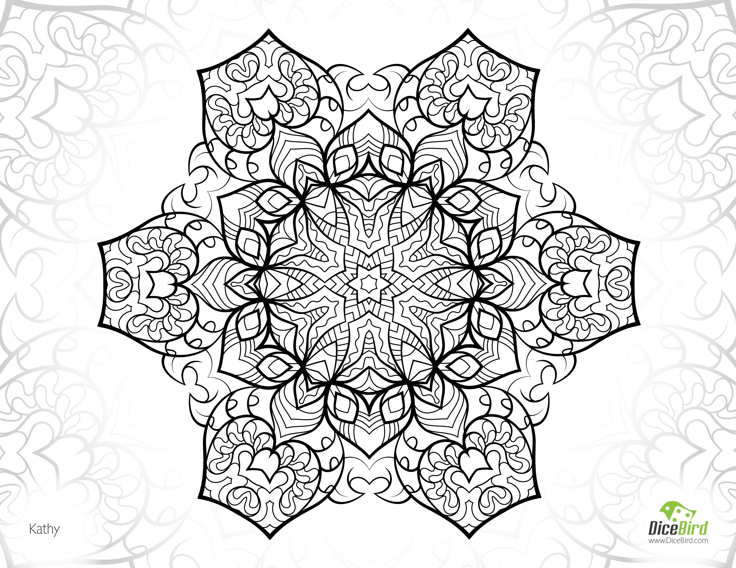 Coloring pictures for adults flowers - Kathy Coloring Pages For Adults Flowers