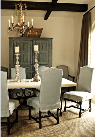 blue dining room chair covers | Blue dining room - chair covers, rug, armoire | Home decor ...