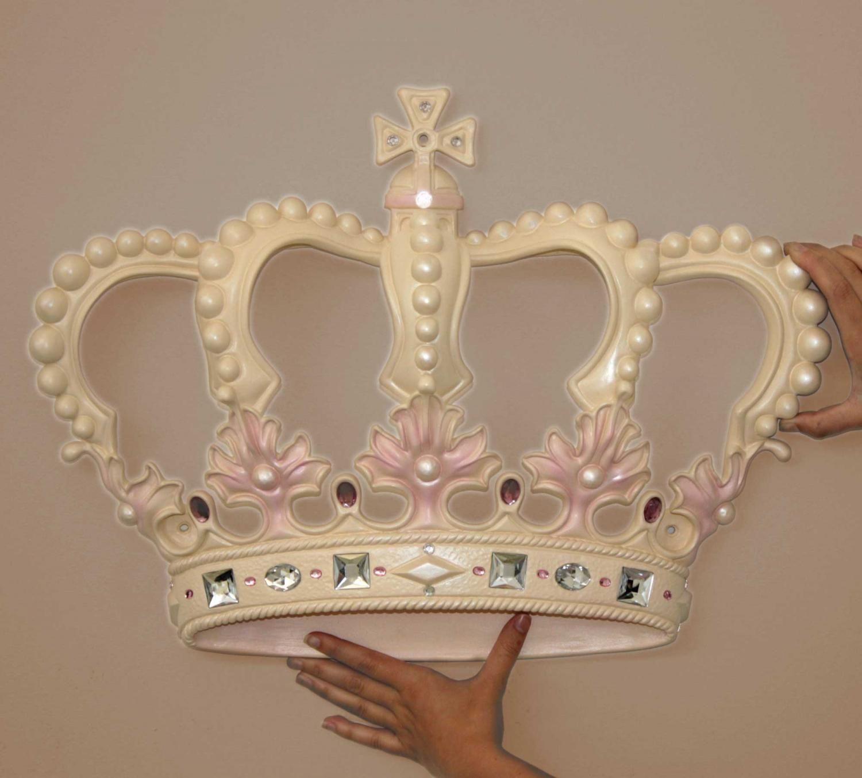 Cream Pink Princess Crown 3d Wall Art Decor By Beetling