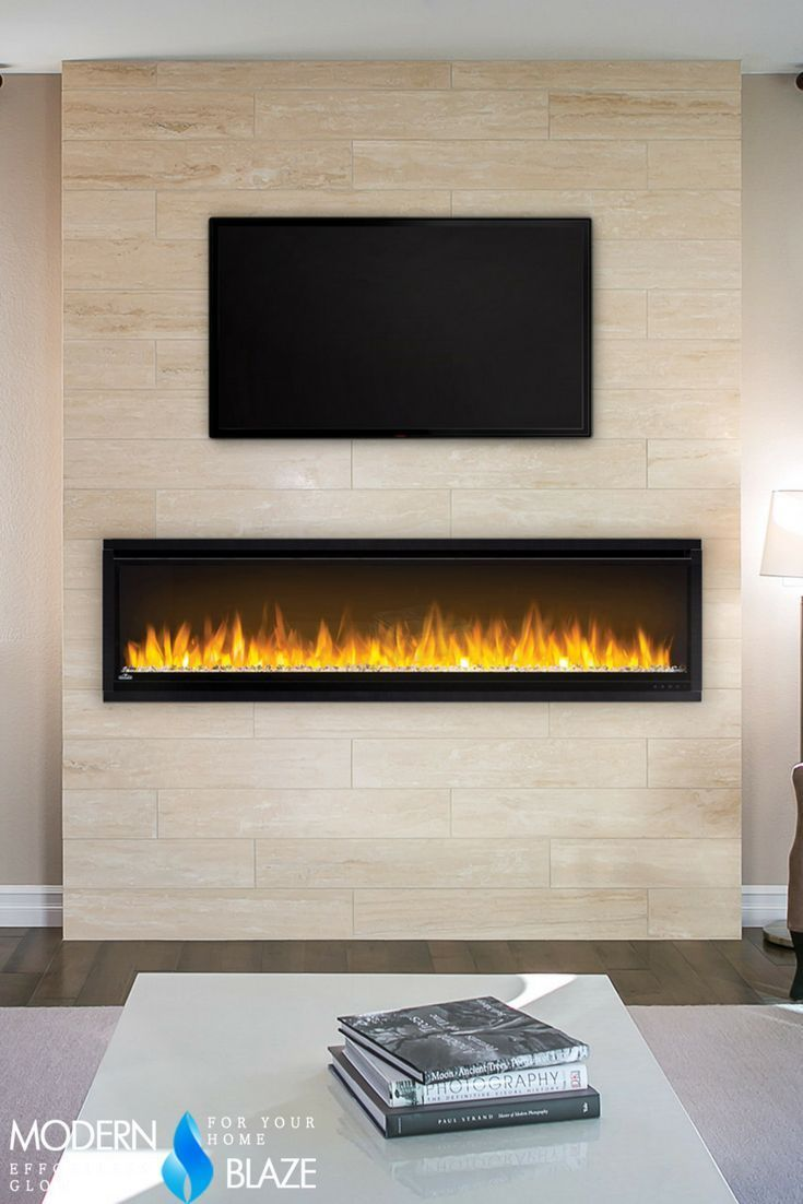 Minimalistic frameless modern linear electric fireplace with