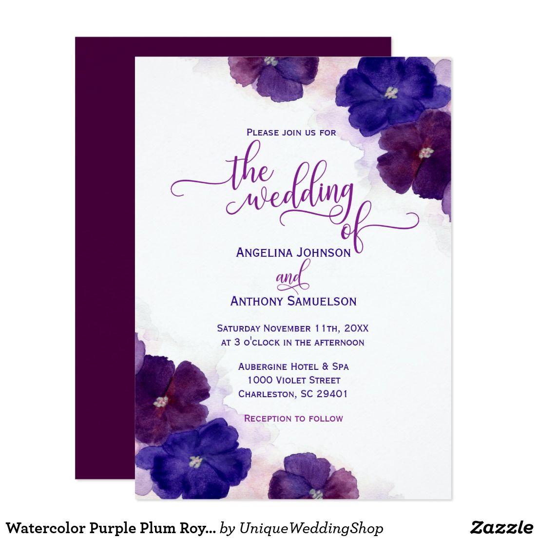 Watercolor Purple Plum Royal Blue Floral Wedding Invitation