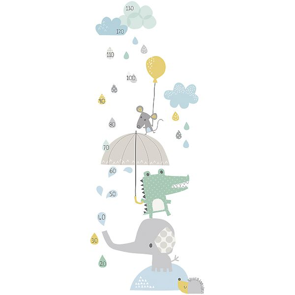 Toise adhésive enfant eléphant et crocodile sous la pluie lilipinso chambre bébédeco