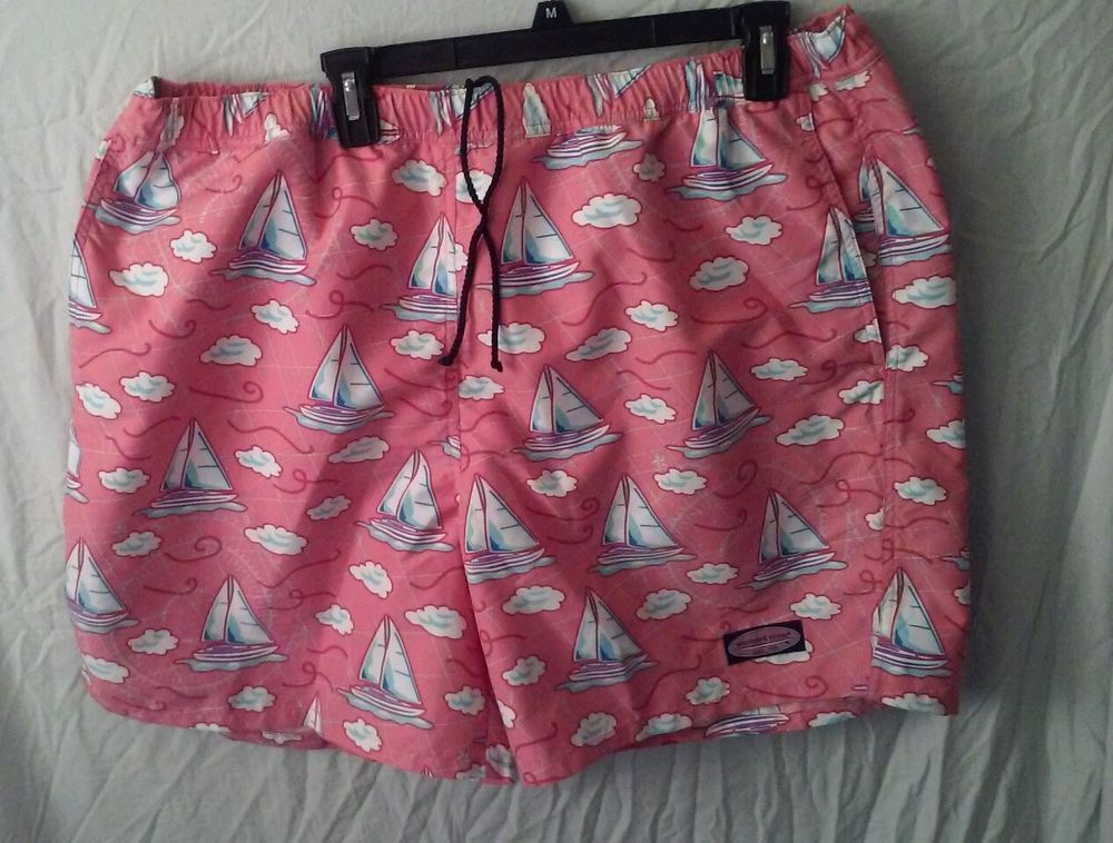 c02ba26d92361 Vineyard Vines Boats Nautical Pink Lined Baggy Swim Trunks Board Shorts  Size XL #vineyardvines #Trunks
