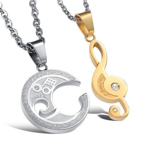 Titanium Steel Engraved Moon and Pendant Couples Necklace