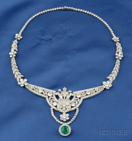 Platinum and Diamond Necklace, c. 1925, bead and bezel-set with old European, old mine, old single, and full-cut diamonds, suspending a later removable green paste drop, approx. total wt. 19.51 cts., millegrain accents, lg. 16 3/4 in., (evidence of solder).