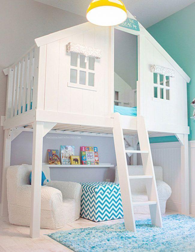 Kinder Abenteuerbett Weiss Hellblau Haus Design Leiter Fenster Teppich