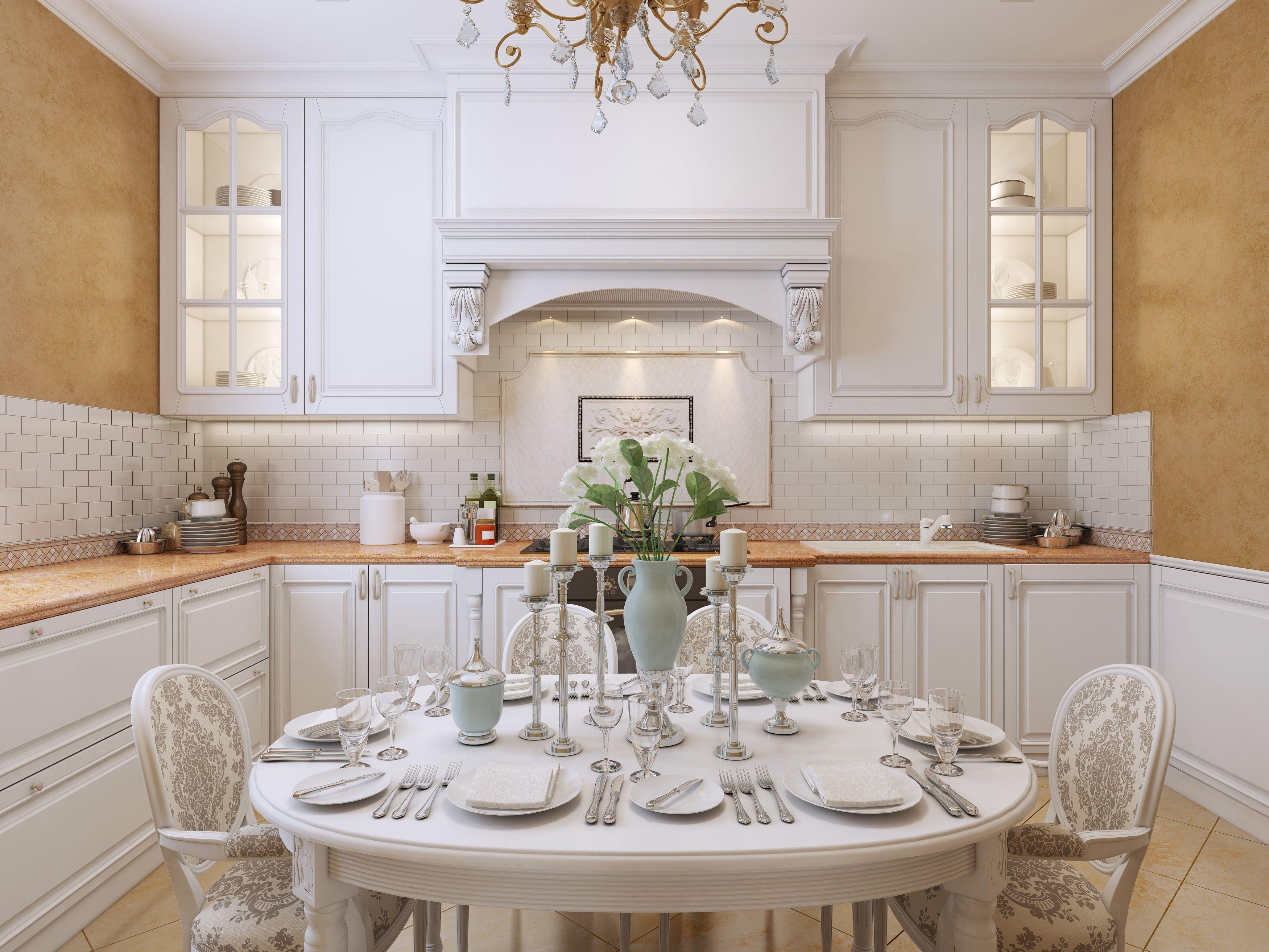 Elegancka Drewniana Biała Kuchnia Z Jadalnią Kolor Blatu