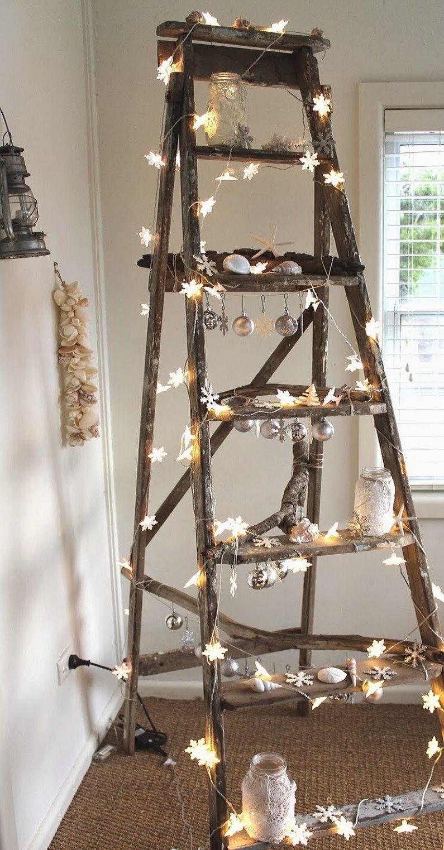 Idee Creative Per Natale let it shine! | ladder christmas tree, rustic christmas