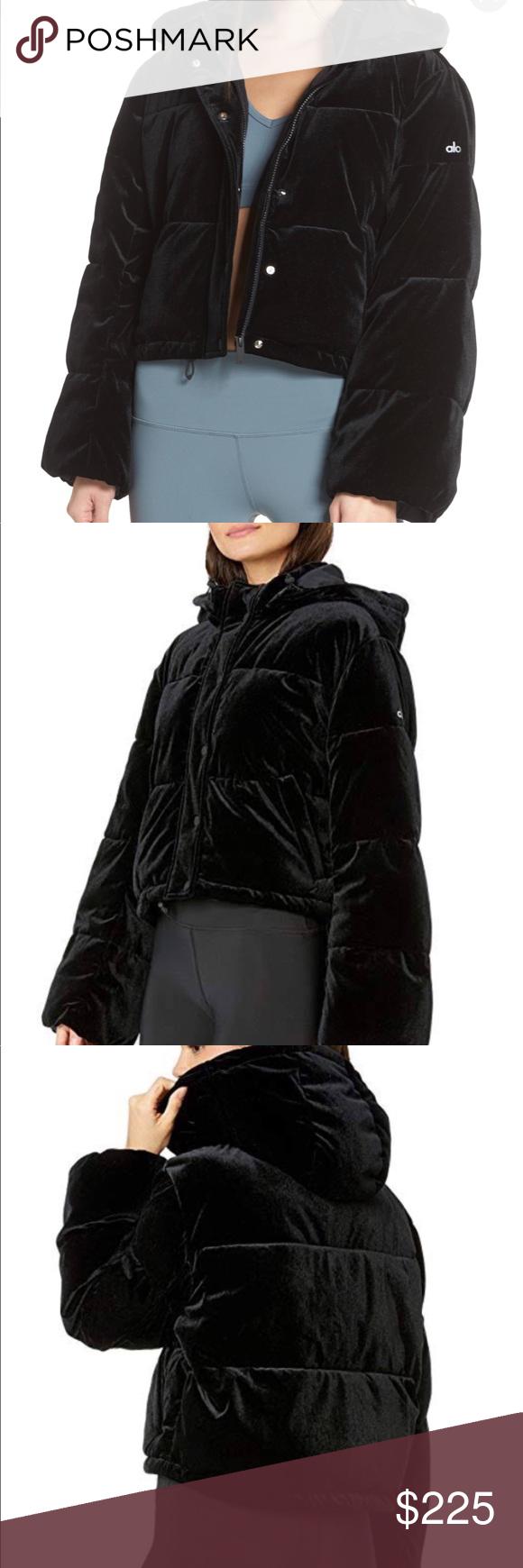 Alo Black Velvet Puffer Cropped Puffer Jacket Clothes Design Fashion [ 1740 x 580 Pixel ]