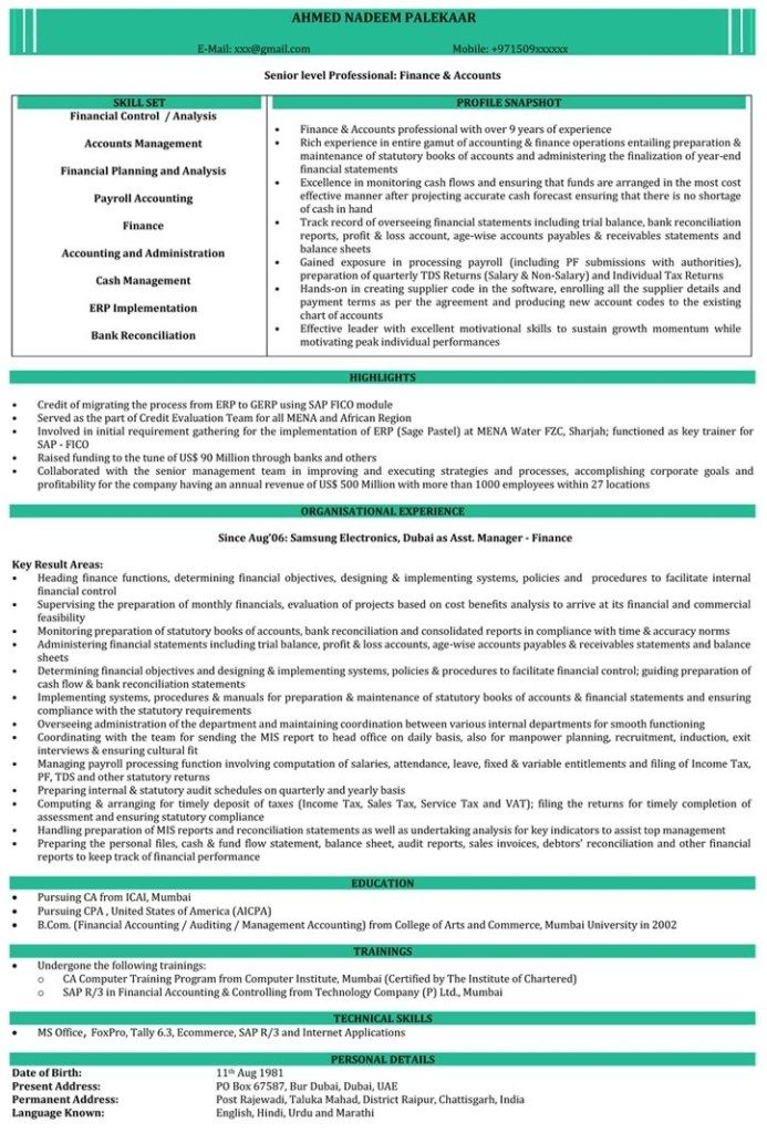 Cool Chartered Accountant Cv Template Picture ca resume