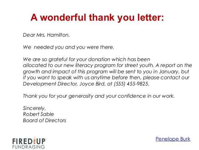 fundraiser thank you letter