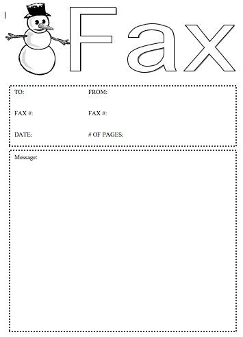 The happy snowman on this printable fax cover sheet can present - fax cover sheet download