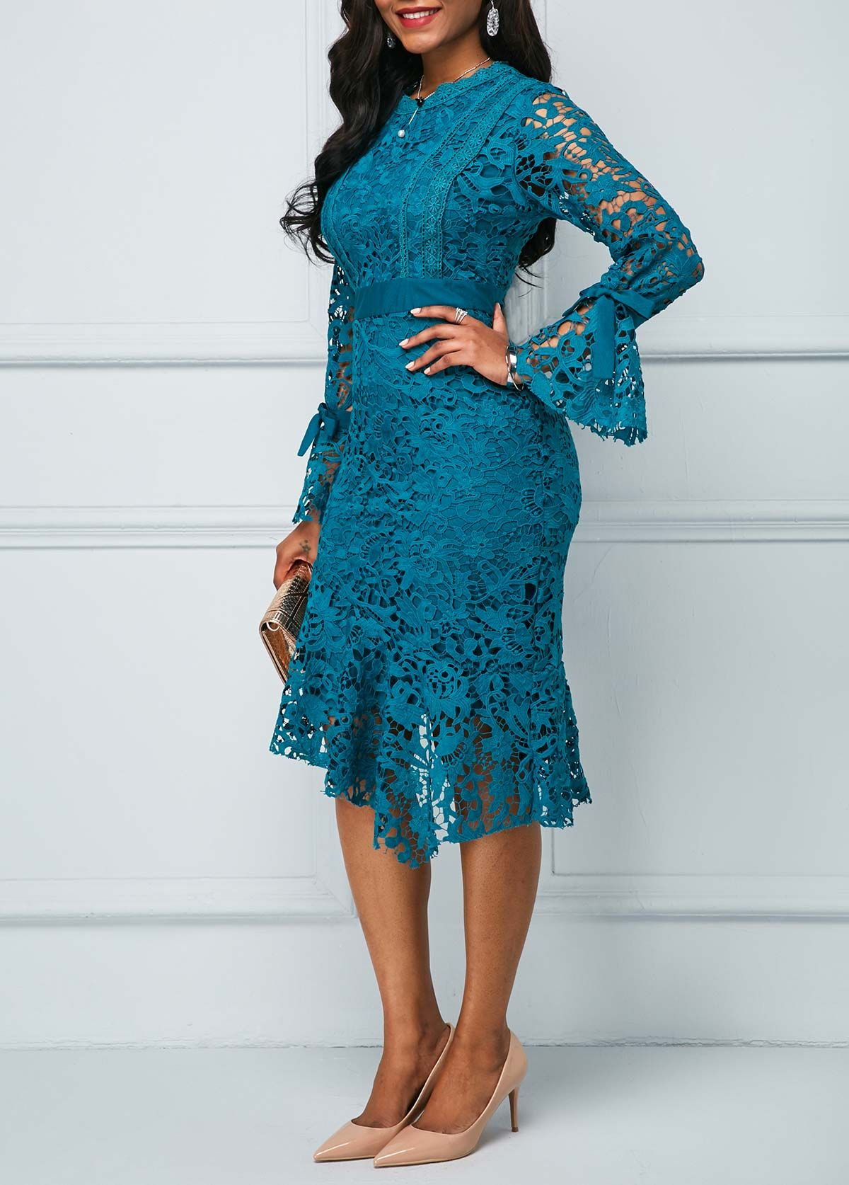 Peacock Blue Flare Sleeve Asymmetric Hem Lace Dress