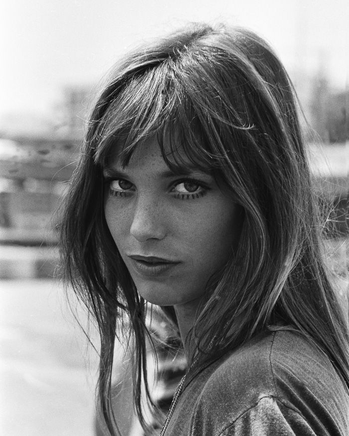 Jane Birkin Coiffure année 70, Frange cheveux et
