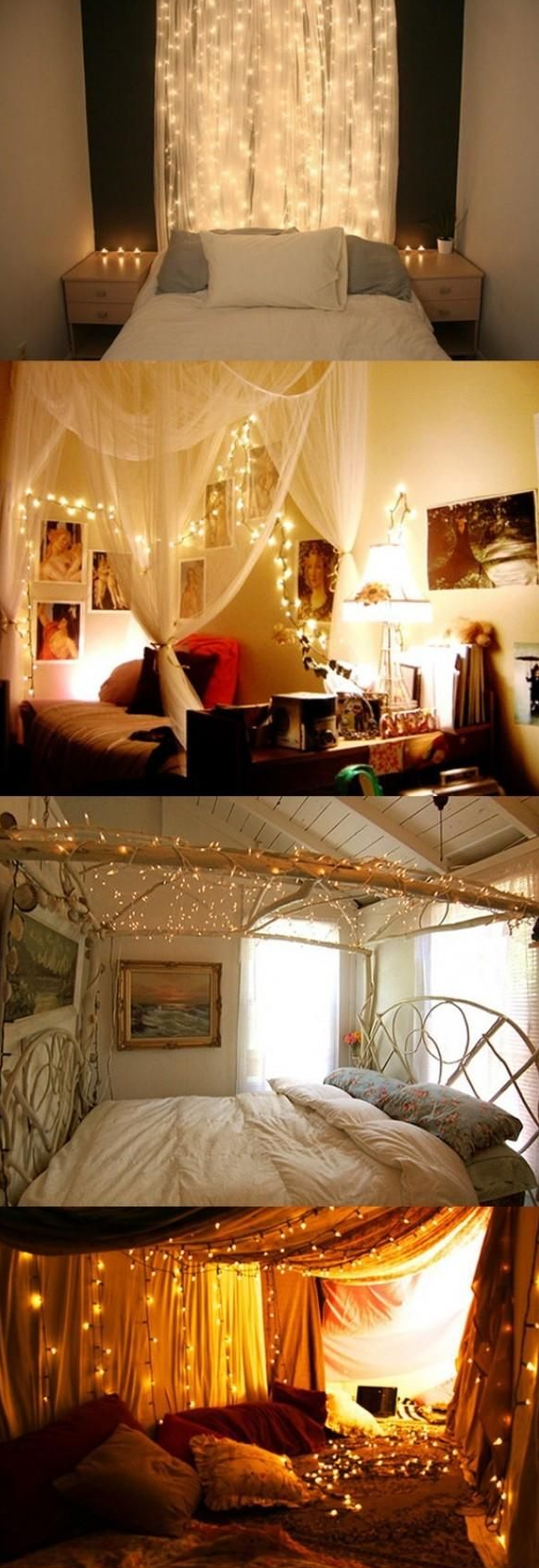 Girl Bedrooms Cute fairy light ideas